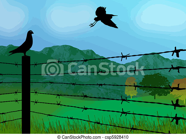 Prison Fence Graphic vector clipart of bird sitting on prison fence on beautiful