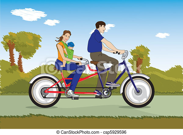 Married couple with baby on a bicycle - csp5929596