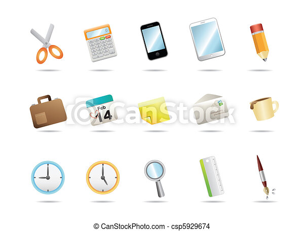 Office stationery icons - csp5929674