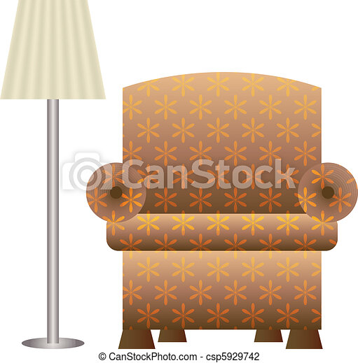Vector Illustration Of An Upholstered Chair And Floor Lamp