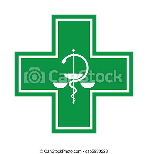 Medical cross - symbol with snake - illustration - csp5930223