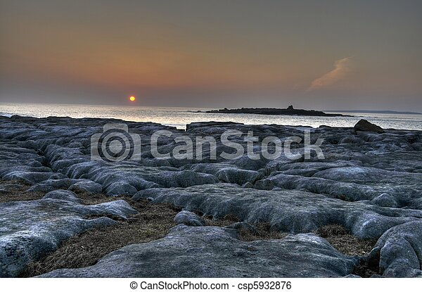 breathtaking sunset over doolin beach, county clare, ireland - csp5932876
