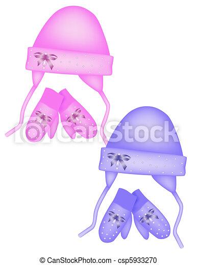 Kids hat and mittens, winter kit. V - csp5933270