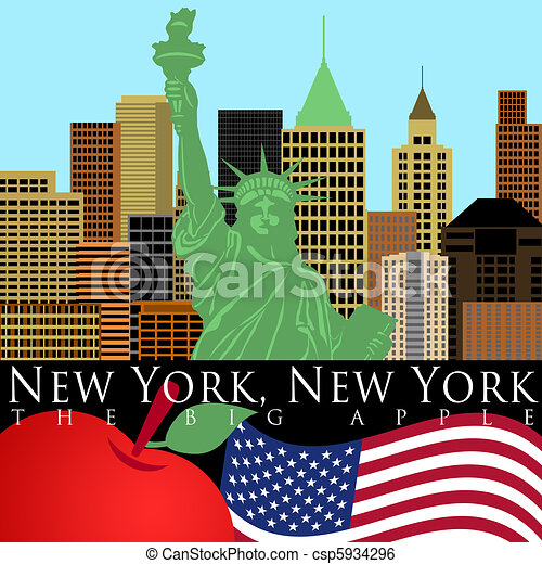 New York Skyline with Statue of Liberty Color - csp5934296