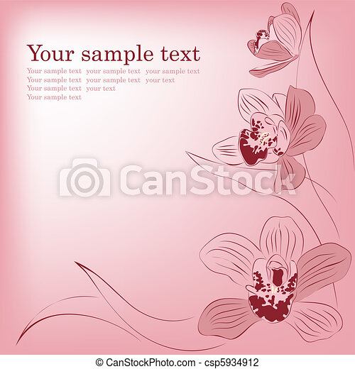 Pink orchid flowers. Vector greeting card. - csp5934912