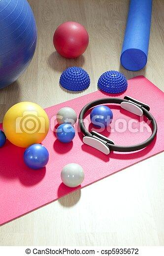 balls pilates toning stability ring roller yoga mat - csp5935672