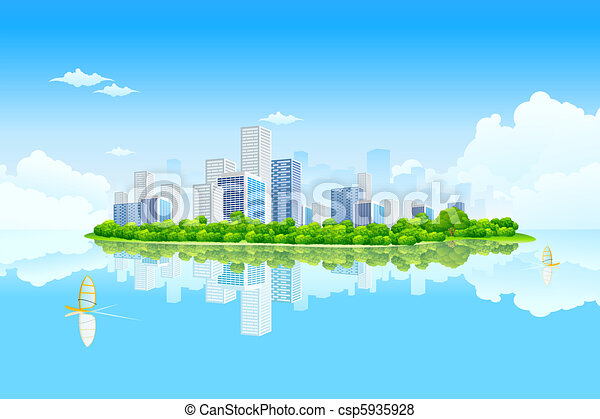 Stock Illustration of Business City Landscape with clouds ...