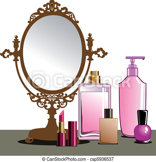 MakeUp and Mirror - csp5936537