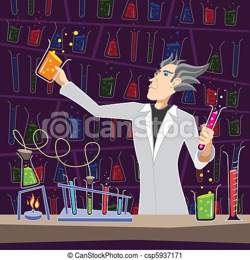 Scientist with Chemistry Equipment - csp5937171