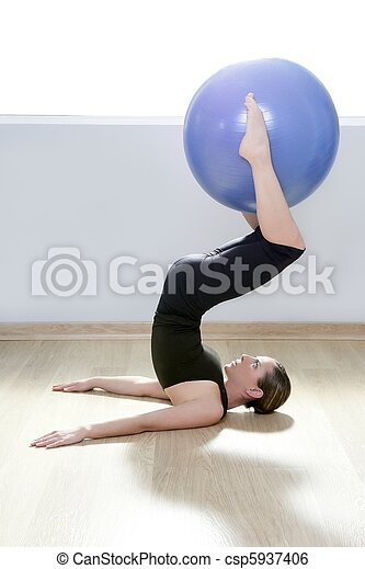 pilates woman stability ball gym fitness yoga - csp5937406