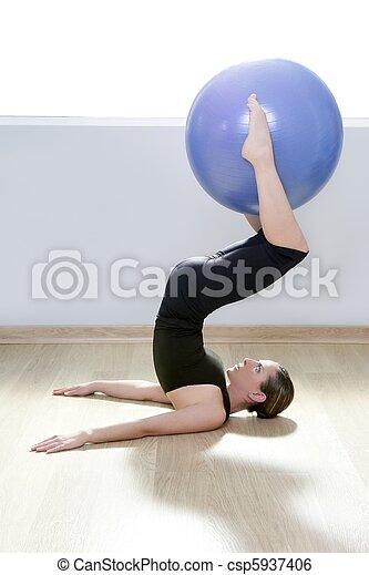 pilates woman stability ball gym fitness yoga - csp5937406