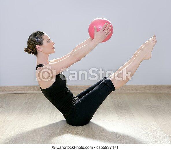 pilates woman stability ball gym fitness yoga - csp5937471
