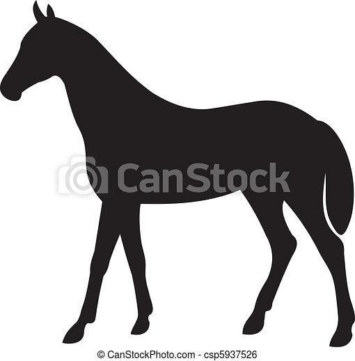 Clip art vecteur de cheval vecteur silhouette cheval silhouette isol csp5937526 - Clipart cheval ...