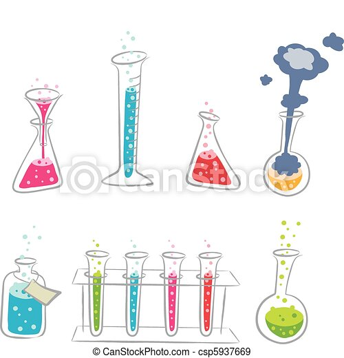 eps vectors of cartoon chemistry set a colorful