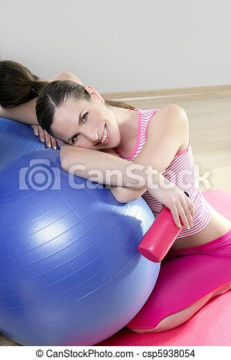 aerobics woman pilates ball relax water bottle smiling - csp5938054