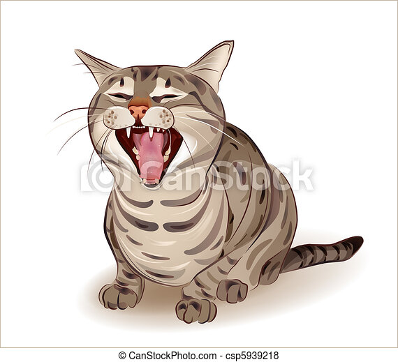 Vector Of Yelling Tabby Cat Csp5939218 Search Clip Art