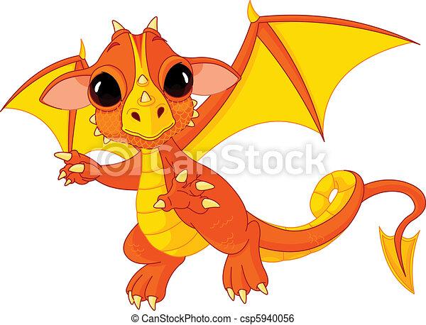 Cartoon baby dragon  - csp5940056