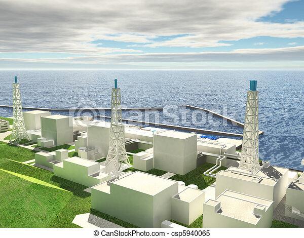 Three-dimensional layout of Fukushima nuclear plant - csp5940065