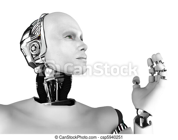 Male robot head in profile. - csp5940251