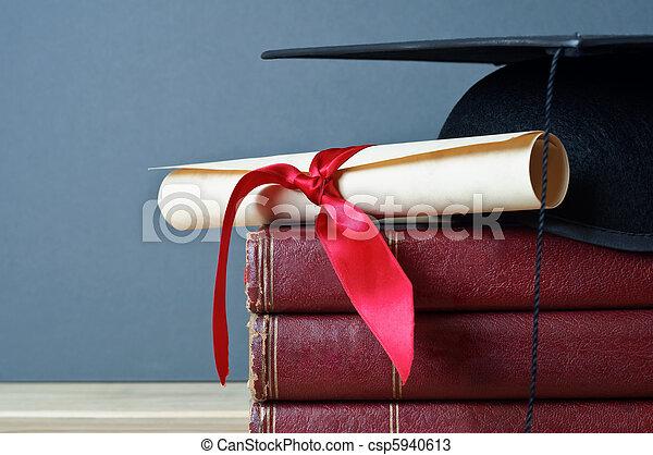 Graduation Cap, Scroll and Books - csp5940613