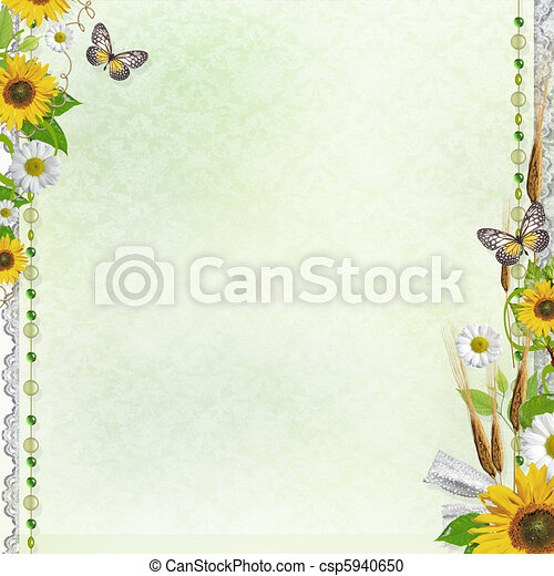 Summer background with frame and flowers (1 of set) - csp5940650