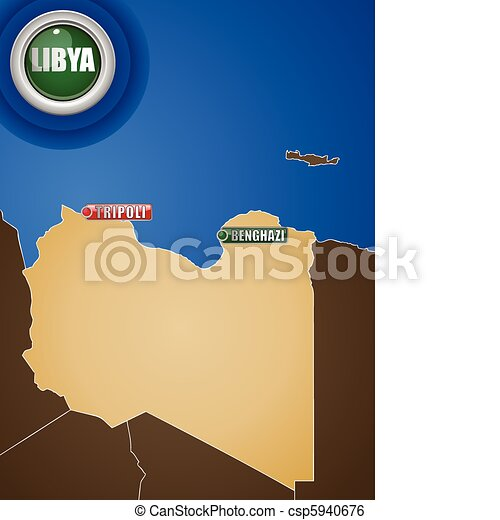 Libya War Map with Cities Tripoli and Benghazi - csp5940676