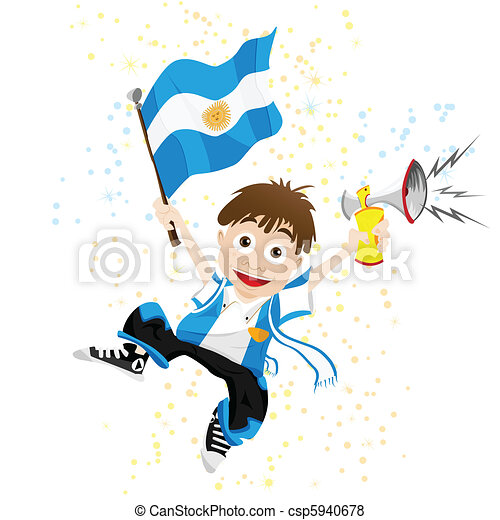 Argentina Sport Fan with Flag and Horn - csp5940678