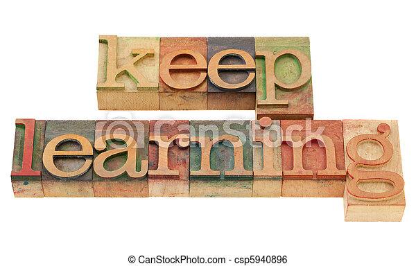 keep learning in letterpress type - csp5940896