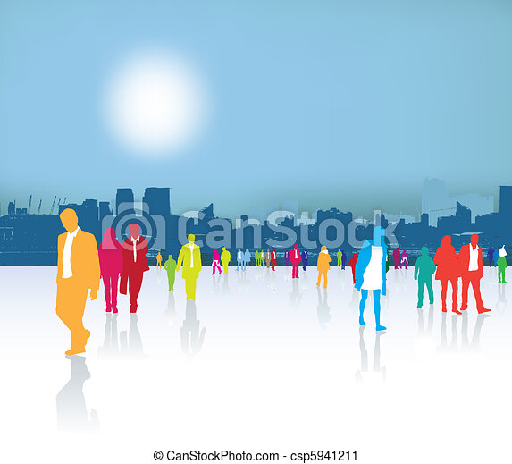 Busy City Clipart Busy Crowded City Life With