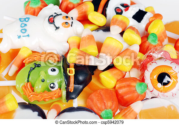 closeup assorted halloween candy making background