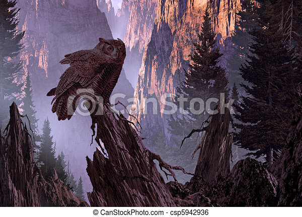 Great Horned Owl - csp5942936