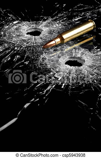 bullet holes in glass - csp5943938