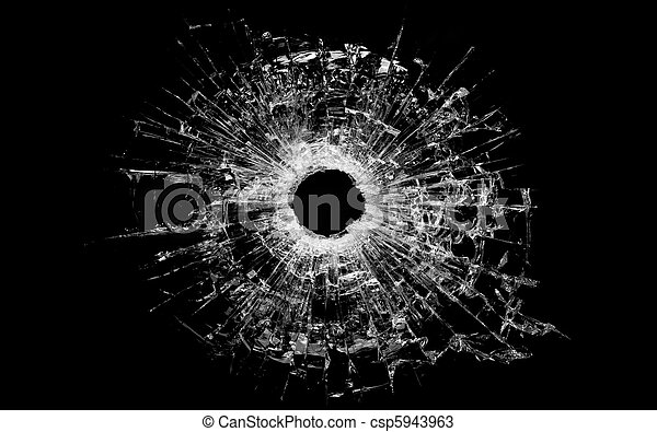 bullet hole in glass isolated on black - csp5943963