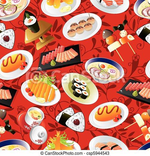 seamless Japanese food pattern  - csp5944543
