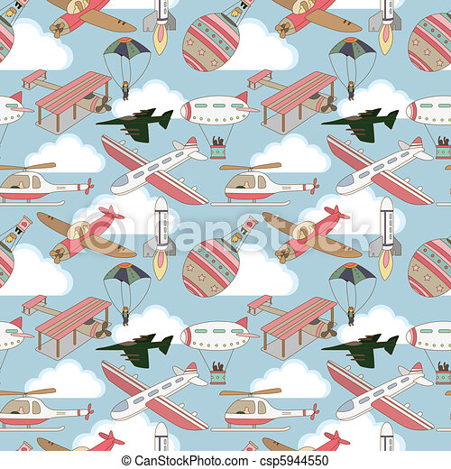 seamless airplane pattern  - csp5944550