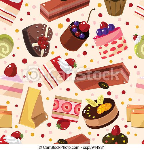 seamless cake pattern  - csp5944931