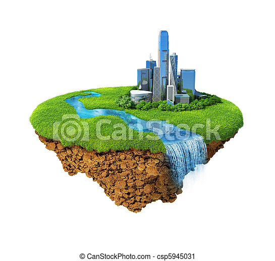 Cityscape on a lawn with river, waterfall. Fancy island in the air isolated. Detailed ground in the base. Concept of success and happiness, idyllic modern harmony lifestyle. - csp5945031