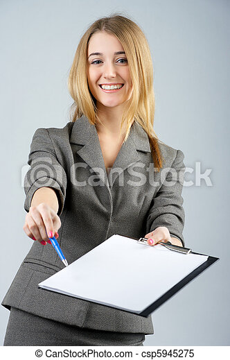 Businesswoman asks you to sign paper - csp5945275