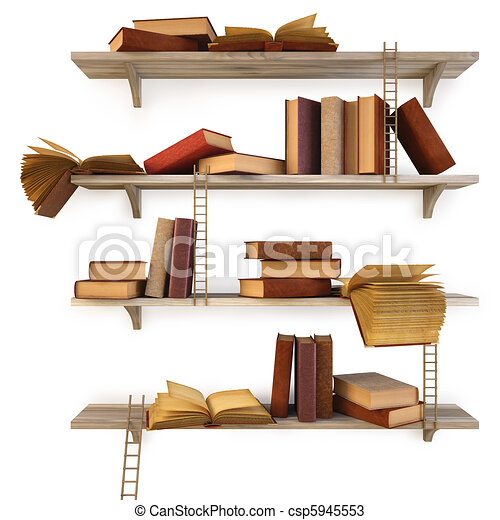Drawings Of Shelf Old Books On The Shelf Isolated On