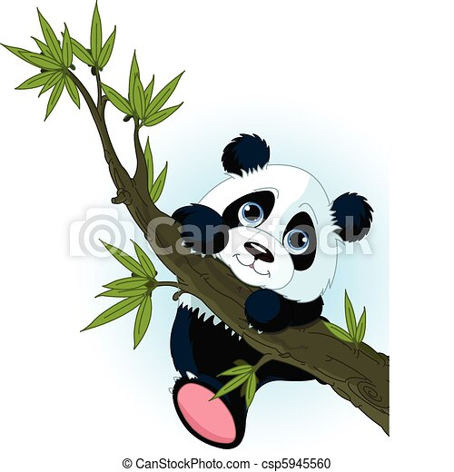 Giant Panda in a Tree Clip Art