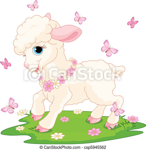 Easter lamb and butterflies - csp5945562
