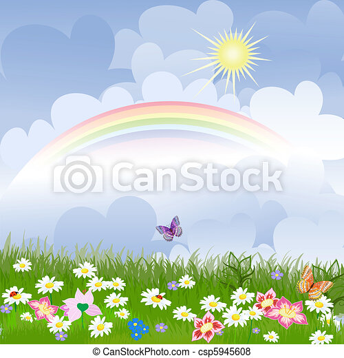 Floral landscape with rainbow - csp5945608