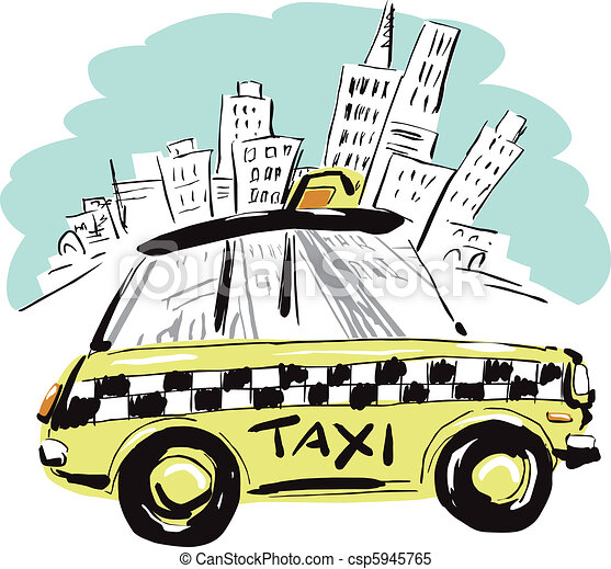 Clipart Vector of NewYork Taxi - New York City is reflected on the ...