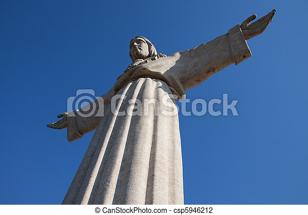 Jesus Christ monument in Lisbon, Portugal - csp5946212