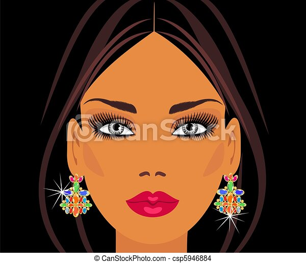the lady in the precious earrings - csp5946884