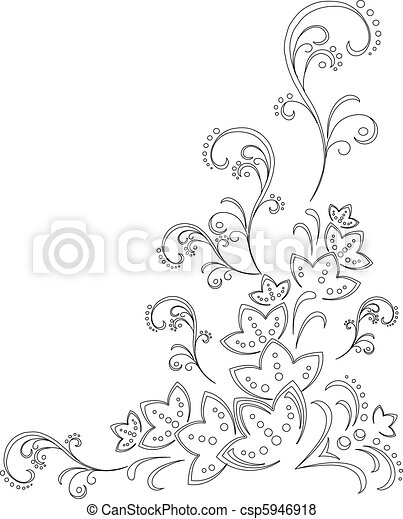 Abstract flower background, contour - csp5946918