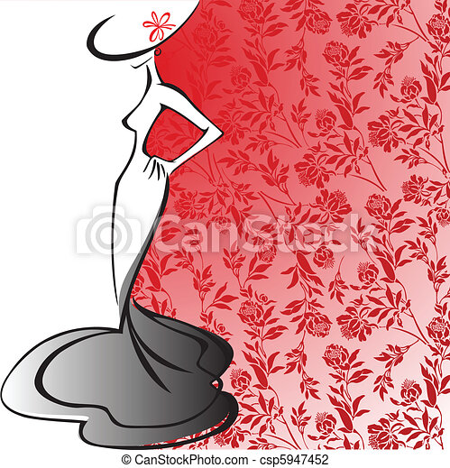 silhouette of an elegant lady - csp5947452