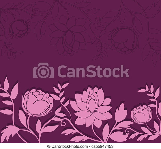 dark background with pink flowers - csp5947453