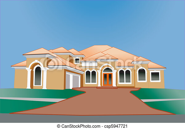 vector multi roof line upscale home - Comment Dessiner Une Villa