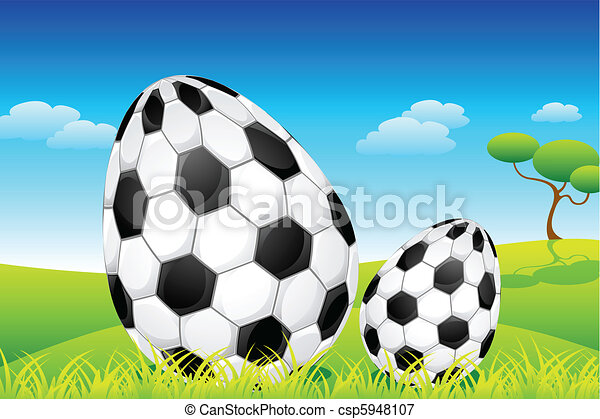 Soccer Easter Eggs - csp5948107